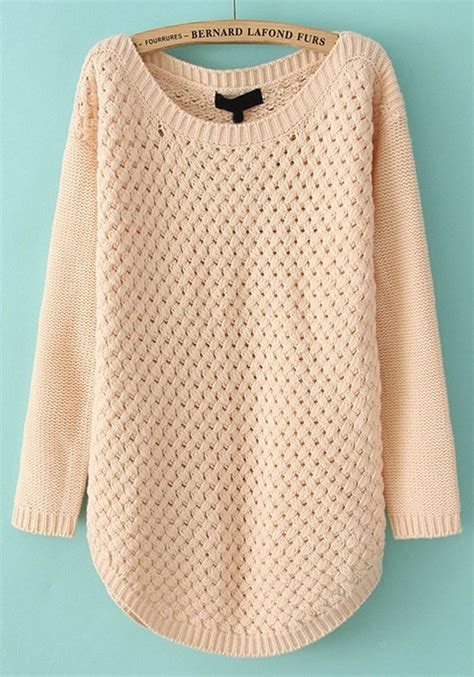 sweaters com pink hollow out irregular neck acrylic sweater