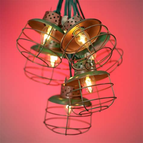 metal cage lantern string lights