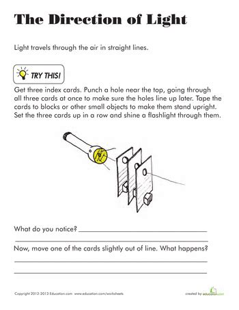 direction of light light energy science worksheets