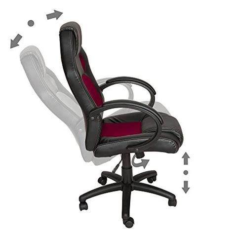 siege guerlain tectake chaise fauteuil siège de bureau noir bordeaux