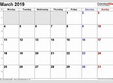 Calendar March 2019 UK, Bank Holidays, ExcelPDFWord