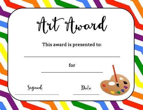 art award certificate  printable