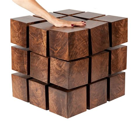 Float  Magnetized Levitating Wooden Cubes Table The