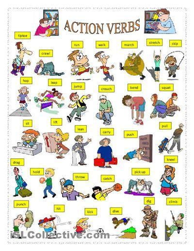Action Verbs Worksheet  Free Esl Printable Worksheets Made By Teachers  Vocabulary Pinterest