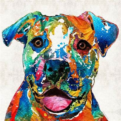 Dog Colorful Bull Pit Happy Painting Canvas