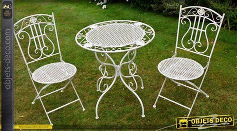 salon de jardin fer forg 233 romantique blanc antique 2 places