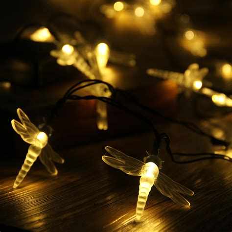solar outdoor string lights 30 led white solar power dragonfly string lights