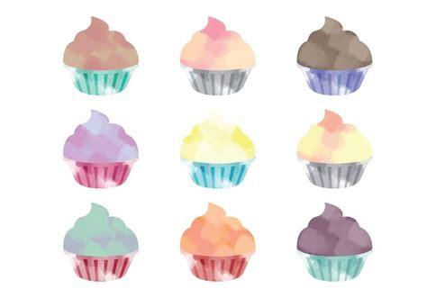 vector watercolor cupcakes   vector art