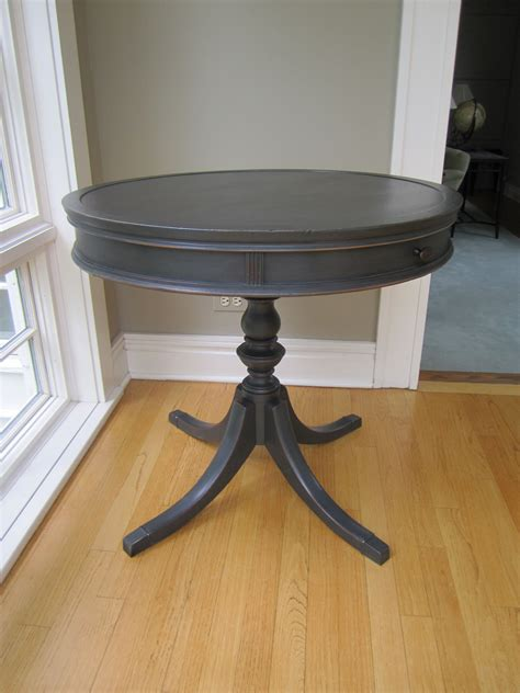 drum table painted  annie sloan chalk paint graphite