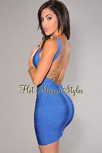 Baby Color Chart Royal Blue Plunging Back Silky Bandage Dress