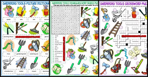 gardening tools vocabulary matching worksheet fasci garden