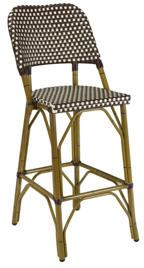 french rattan outdoor bistro bar stool  bamboo frame