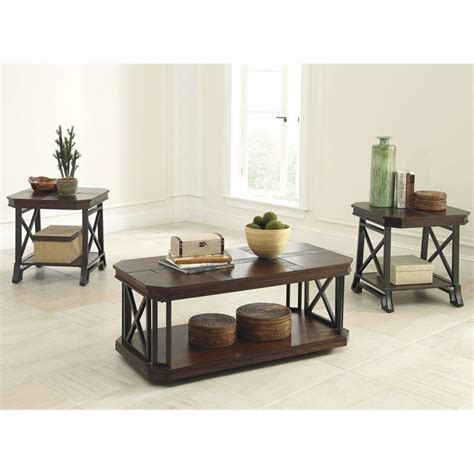 Signature design by ashley has something for everyone, whether you're looking to add a special decorative touch with an accent piece or searching for the right set for a new room. Ashley Furniture Vinasville 3 Piece Occasional Table Set in Medium Brown - T552-13