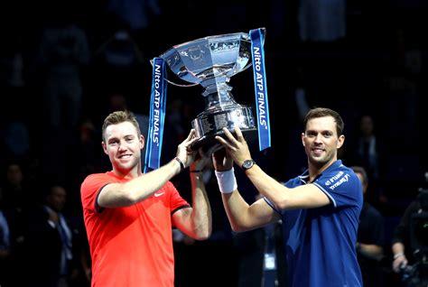 bryan sock save match point  win atp finals doubles title tenniscom  scores news