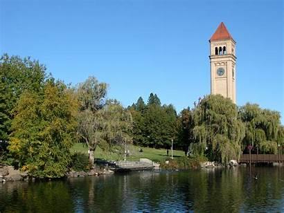 Spokane Riverfront Park Wa River Usa Clocktower