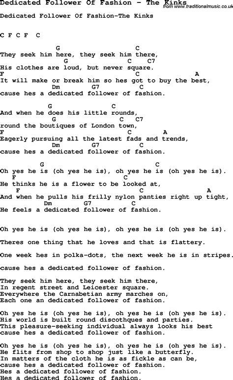 song dedicated follower  fashion   kinks song
