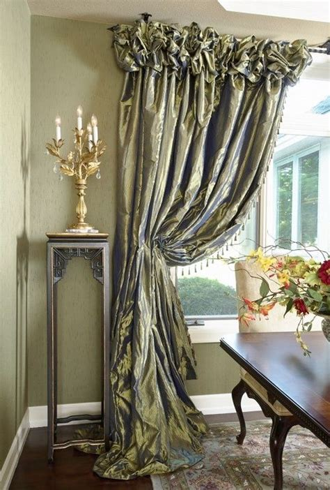 formal tied  drapery silk ruched heading dining