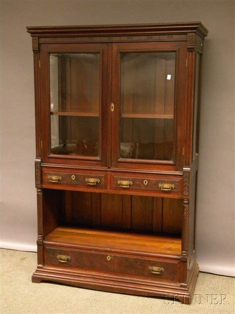 what finish for kitchen cabinets eastlake type glazed carved walnut display 8936