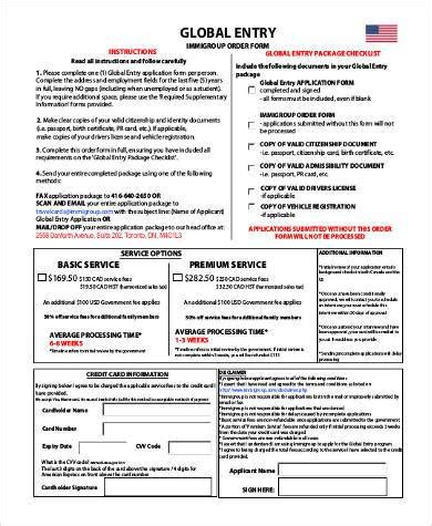 sample global entry application forms   word