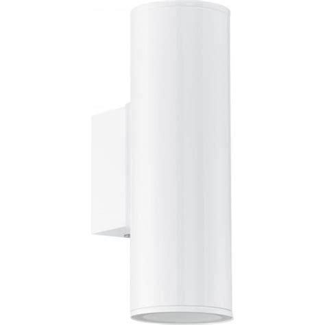 eglo lighting riga 2 light led outdoor wall fitting in white finish castlegate lights