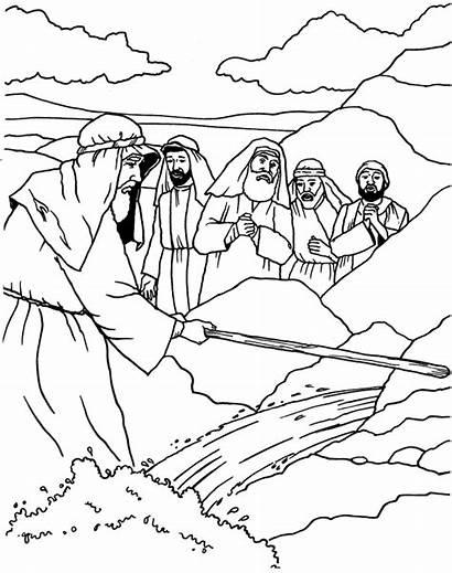 Rock Water Coloring Moses Sermons4kids Storage