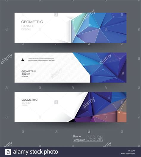 vector abstract banners set  polygonal triangle