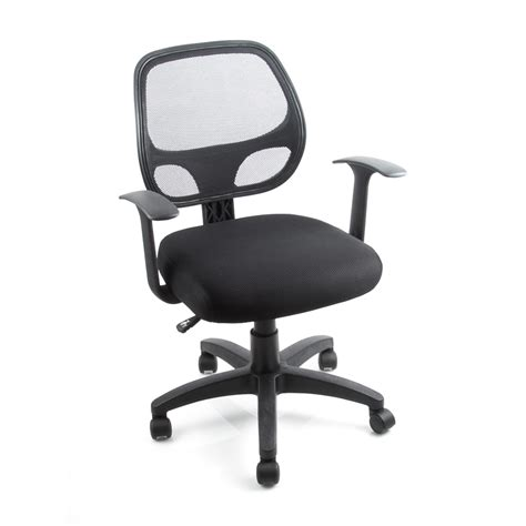 mid back black office chair padded fabric mesh home