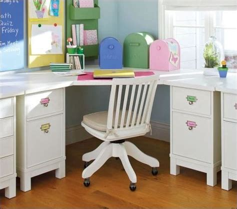 kids room corner study desk in white color looks so cute