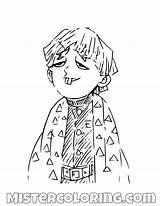 Demon Slayer Coloring Anime Zenitsu Printable Manga Characters Drawing Boy Dumb Mister Mistercoloring Fictional sketch template