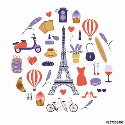 French France Paris Cartoon Symbols Icon Eiffel