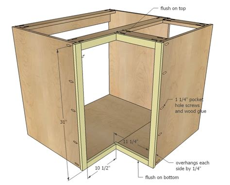 how to build kitchen cabinets step by step ana white 36 quot corner base easy reach kitchen cabinet