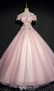 Chic / Beautiful Pearl Pink Prom Dresses 2017 Ball Gown ...