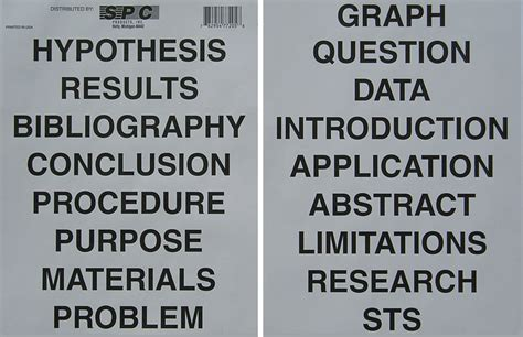 science fair headings printable s p c products