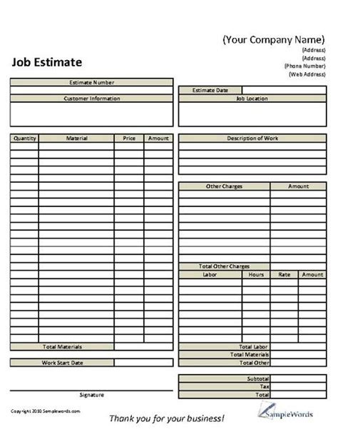 basic job estimate form business forms pinterest