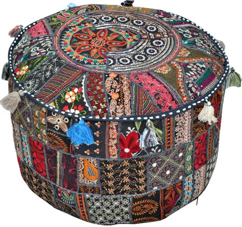 poof ottoman black patchwork embroidered indian pouf ottoman foot
