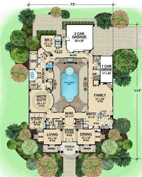 centered courtyard house plans plan luxury floor plans