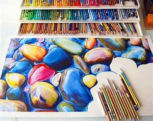 Not your average drawing of a rock colorful riverbeds for Colorful rocks drawn with pencil by ester roi