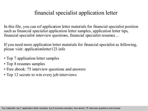 finance specialist cover letter financial specialist application letter