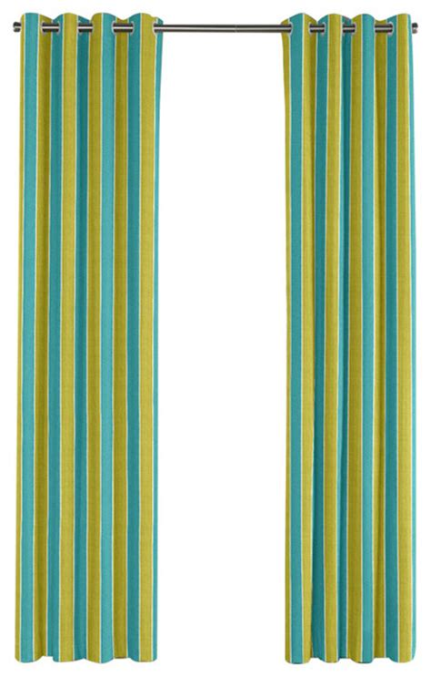 lime and teal stripe grommet curtain single panel
