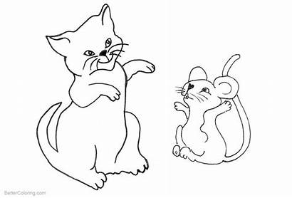 Coloring Mouse Cat Pages Printable Adults