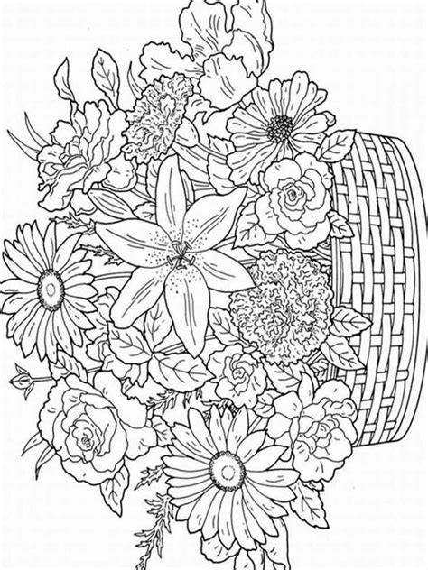 flowers coloring pages  adults  printable flowers coloring pages
