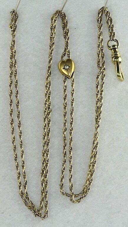 victorian antique  gold pearl heart ladies rope   chain ebay