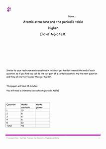 Atomic Structure And Periodic Table Objective 7 Worksheet