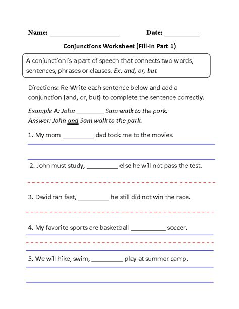 year 1 conjunctions worksheets englishlinx conjunctions worksheets