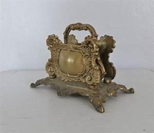 vintage brass letter envelope holder desk accessory 1961 a m With brass letter holder