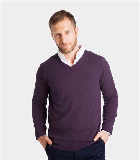 mens v neck sweater blueberry 20 80 merino mens and