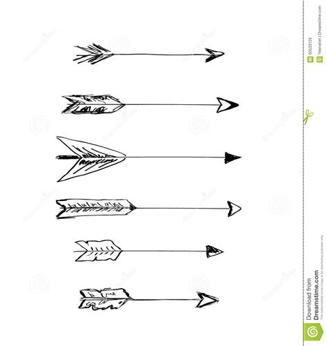 hand drawn vector arrows  feathers stock vector