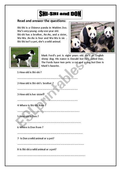 reading comprehension  animals esl worksheet