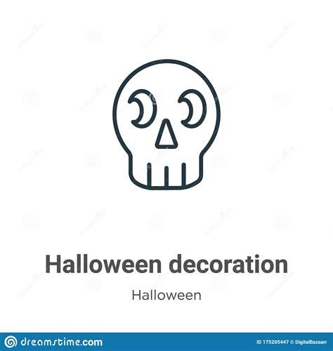 Halloween Decoration Outline Vector Icon Thin Line Black