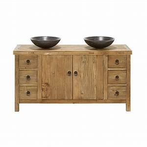 meuble bas de salle de bain 2 vasques en orme recycle With meuble bas bois salle de bain